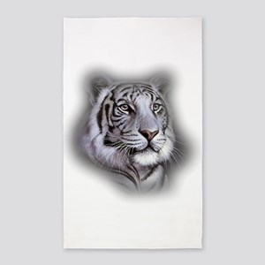 White Tiger Face Area Rug