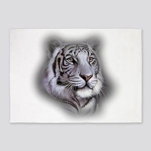 White Tiger Face 5'x7'Area Rug