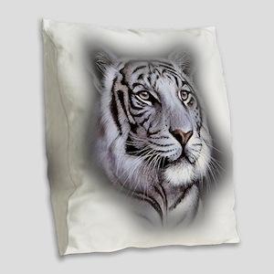 White Tiger Face Burlap Throw Pillow
