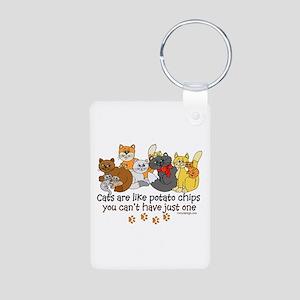 Cats are like potato chips Aluminum Photo Keychain