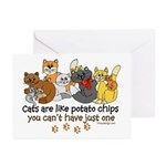 Cats are like potato chips Greeting Cards (Pk of 2
