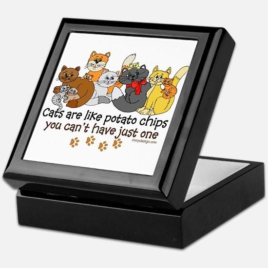 Cats are like potato chips Keepsake Box