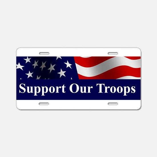 Unique Support the troops Aluminum License Plate