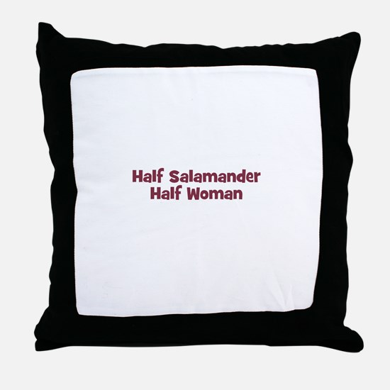 Half SALAMANDER Half Woman Throw Pillow