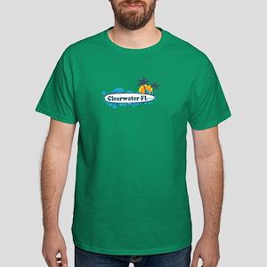Clearwater FL - Surf Design. Dark T-Shirt