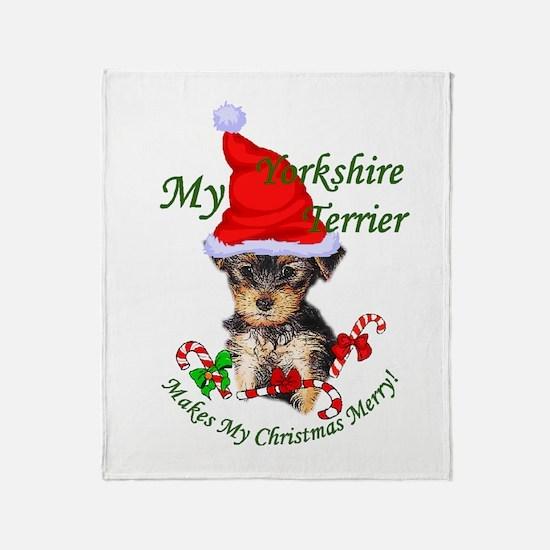 Yorkshire Terrier Christmas Throw Blanket