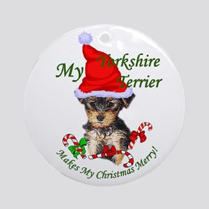 Yorkshire Terrier Christmas Round Ornament