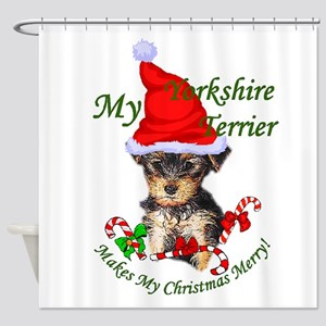 Yorkshire Terrier Christmas Shower Curtain