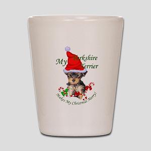 Yorkshire Terrier Christmas Shot Glass