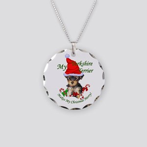 Yorkshire Terrier Christmas Necklace Circle Charm