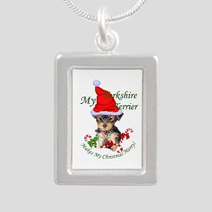 Yorkshire Terrier Christ Silver Portrait Necklace