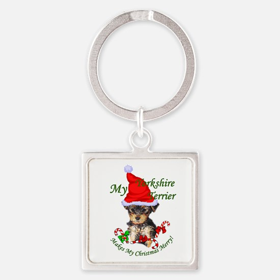 Yorkshire Terrier Christmas Square Keychain