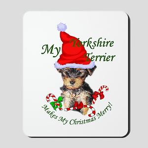 Yorkshire Terrier Christmas Mousepad