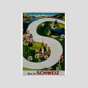 Vintage Switzerland Travel Ad 5'x7'Area Rug
