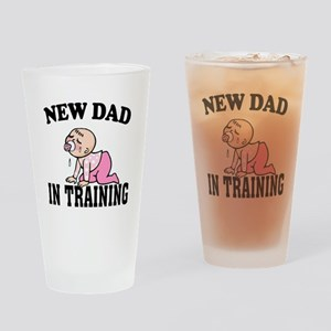 New Dad In Training (Girl) Drinking Glass