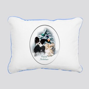 Papillon Christmas Rectangular Canvas Pillow