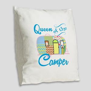 Queen of the Camper Burlap Throw Pillow