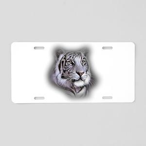 White Tiger Face Aluminum License Plate