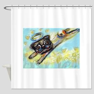 Pug Angel Flys Free Shower Curtain