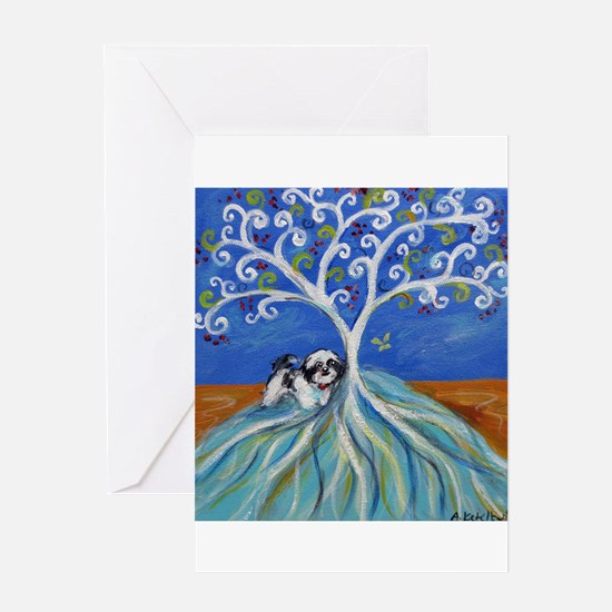 Shih Tzu spiritual love tree Greeting Card
