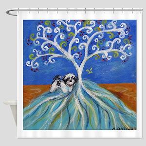 Shih Tzu spiritual love tree Shower Curtain