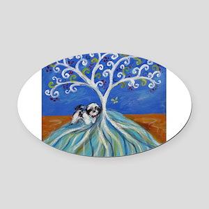 Shih Tzu spiritual love tree Oval Car Magnet