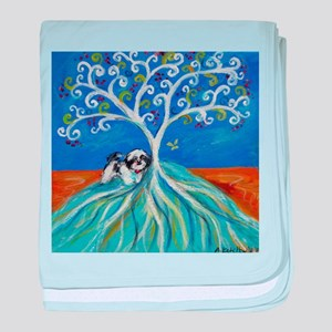 Shih Tzu spiritual love tree baby blanket