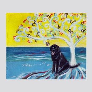 Black Labrador Love Spritual Tree Throw Blanket