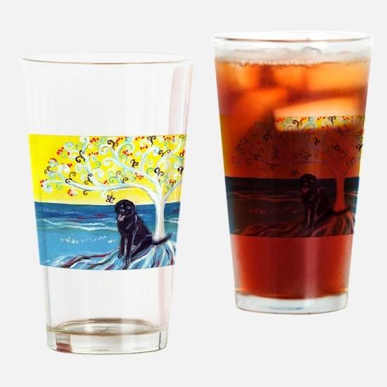 Black Labrador Love Spritual Tree Drinking Glass