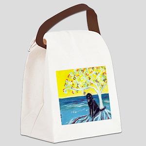 Black Labrador Love Spritual Tree Canvas Lunch Bag