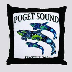 Puget Sound Orcas Throw Pillow