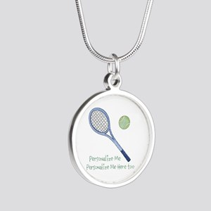 Personalized Tennis Silver Round Necklace