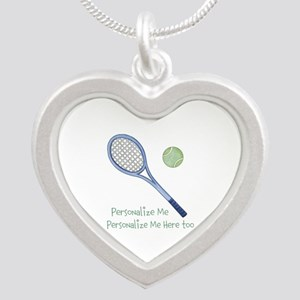 Personalized Tennis Silver Heart Necklace