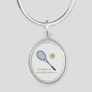 Personalized Tennis Silver Oval Necklace