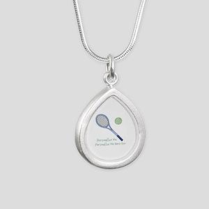 Personalized Tennis Silver Teardrop Necklace