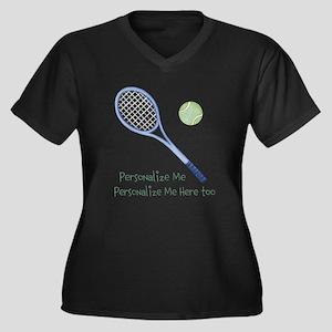 Personalized Tennis Women's Plus Size V-Neck Dark