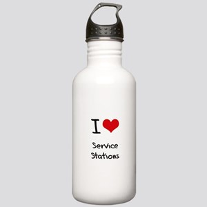 I Love Service Stations Water Bottle