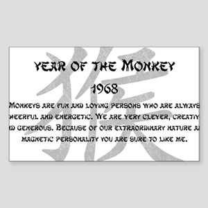 Year Of The Monkey 1968 Sticker (Rectangle)