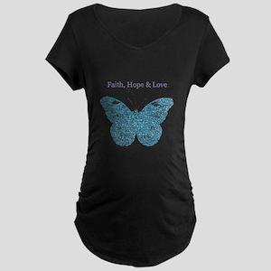 Faith, Hope, Love Aqua Butterfly Maternity T-Shirt