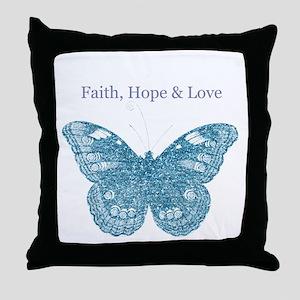 Faith, Hope, Love Aqua Butterfly Throw Pillow