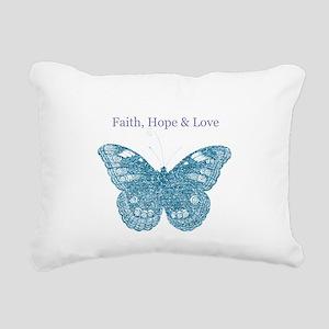 Faith, Hope, Love Aqua Butterfly Rectangular Canva