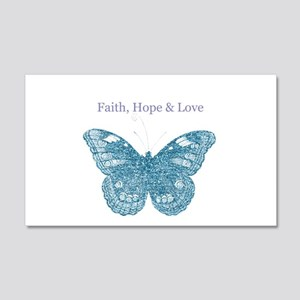 Faith, Hope, Love Aqua Butterfly Wall Decal