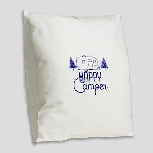 Happy Camper Burlap Throw Pillow