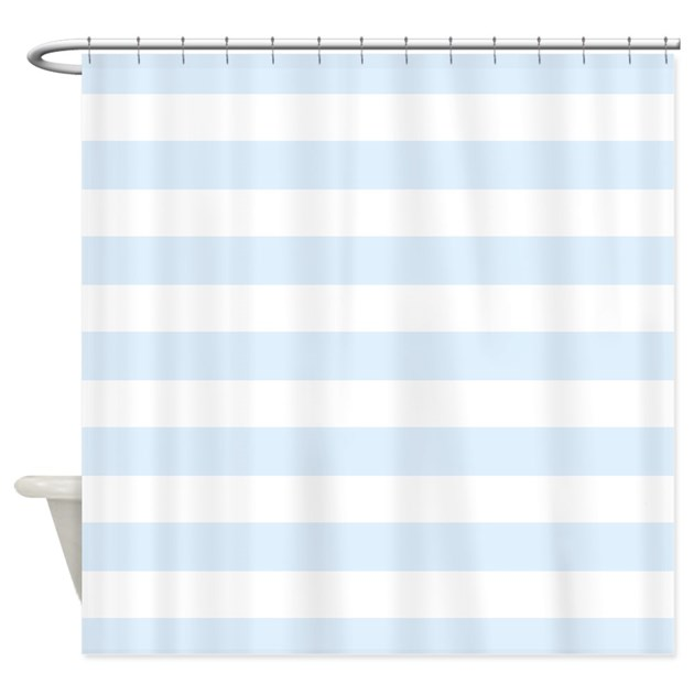 Light Blue And White Stripe Shower Curtain By InspirationzStore