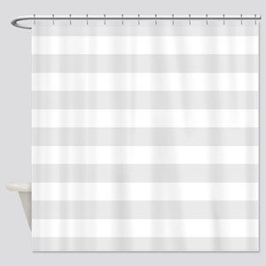 Grey and white striped Shower Curtain