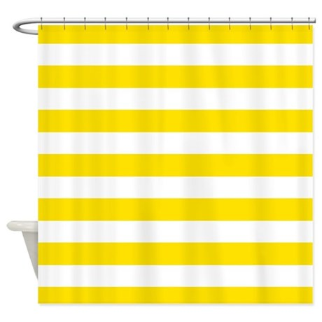 Yellow And White Stripes Shower Curtain By InspirationzStore