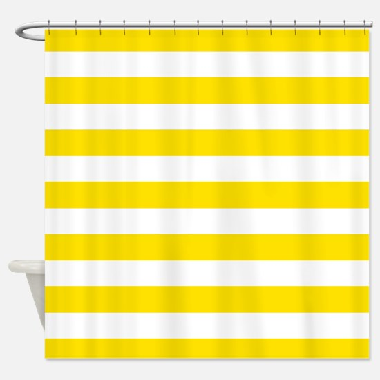 Yellow and white stripes Shower Curtain