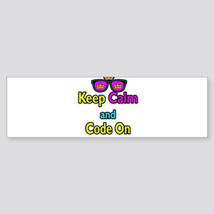 Crown Sunglasses Keep Calm And Code On Sticker (Bu