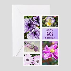 93rd birthday lavender hues Greeting Cards (Pk of