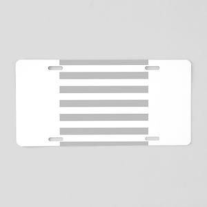 Gray and white horizontal stripes Aluminum License